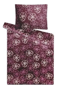 Povlečení mikroflanel - mikroplyš 140x200,70x90 cm květiny fialové