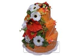 Textilní dort s květy 3patrový (2+2) oranžová
