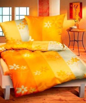 Povlečení krepové 140x200,70x90 cm Zahrada oranžová