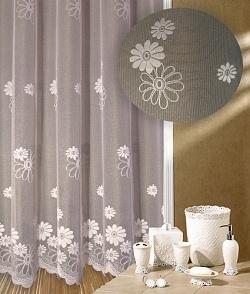 Záclona kusová Květy výška 220cm, šířka 200cm bílá