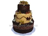 Textilní dort vánoční 3patrový (2+2) hnědá-žlutá