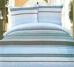 Povlečení krepové na 2 postele 4 dílné pruh modrý