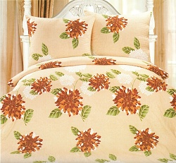 Povlečení krepové na 2 postele 4 dílné květ béžový