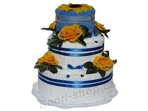 Textilní dort 3P-8 3patrový (2+2) modro-bílý