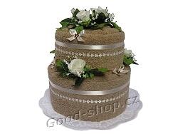 Textilní dort 2P-8 2patrový (2xruč.) sv.hnědý