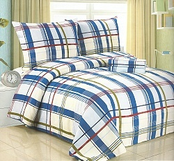 Povlečení bavlněné na 2 postele 4 dílné modrá-červená