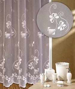Záclona Čtyřlístek výška 140 cm bílá