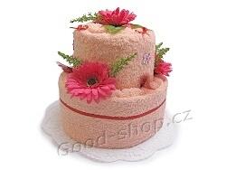 Textilní dort 2P-5 2patrový (2xruč.) lososová