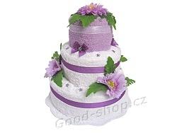 Textilní dort 3P-9 3patrový (2+2) lila - bílá