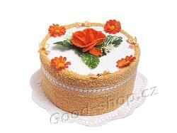 Textilní dort E-1 1patrový bílá-lososová