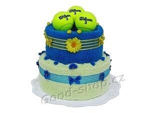 Textilní dort pro tenistu 2patrový (1os.+1ruč.) modrá-žlutá